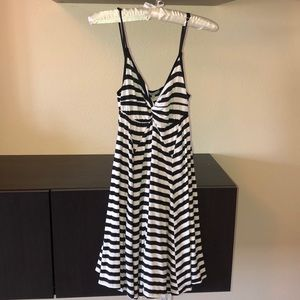 black and white striped mini dress